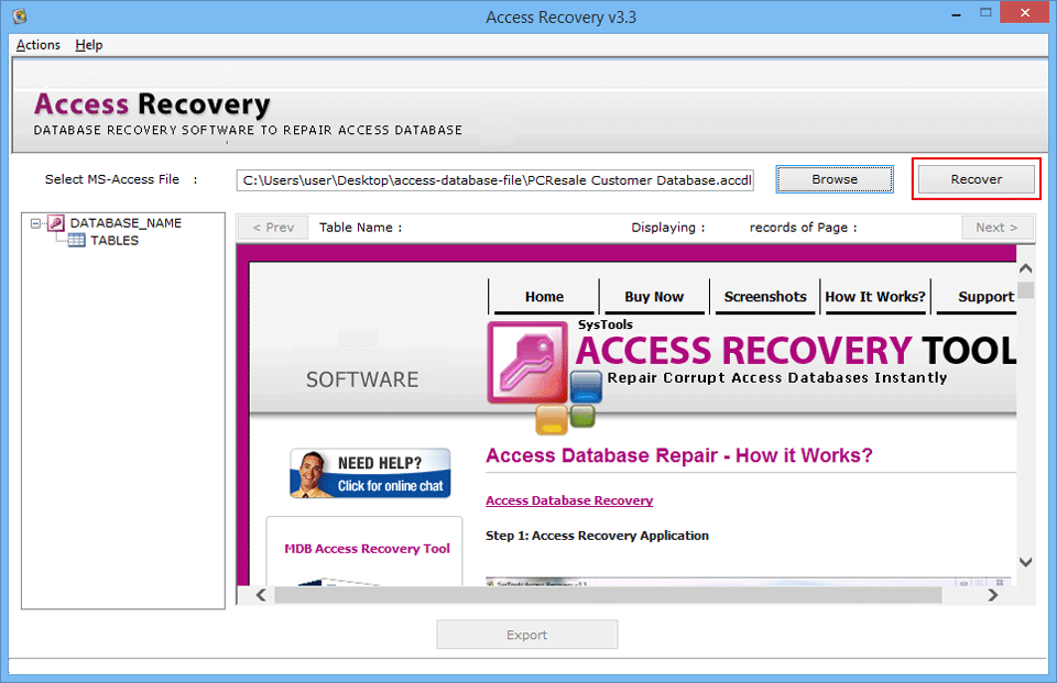 Access Database Recovery Tool, Services to Repair & Export